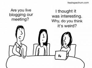 dessin humoristique avec 3 personnages sur l'activité de blogging